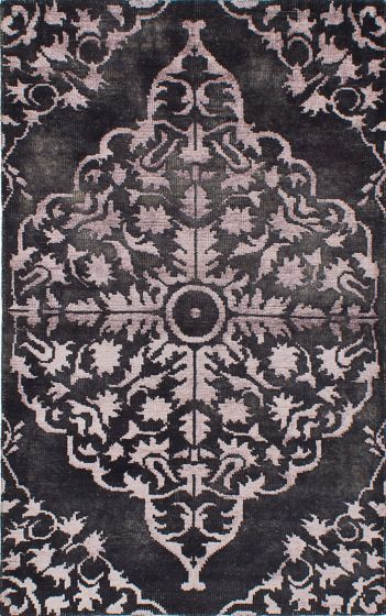 Transitional Black Area rug 5x8 Indian Hand-knotted 222030