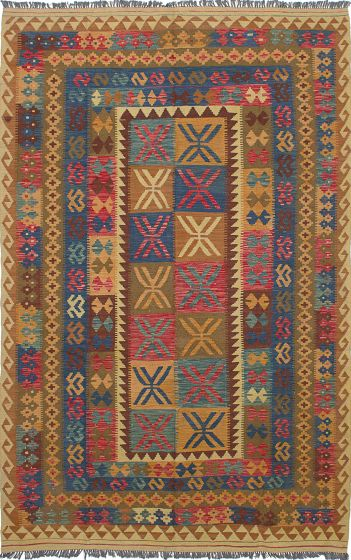 Traditional Brown Area rug 6x9 Turkish Flat-weave 228264