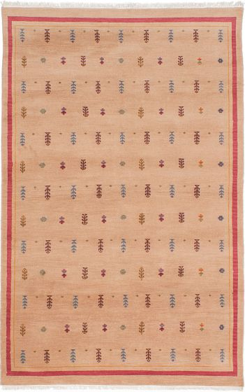 Transitional Ivory Area rug 4x6 Pakistani Hand-knotted 229348
