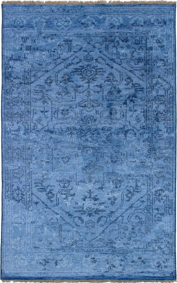 Bordered  Casual Blue Area rug 5x8 Indian Hand-knotted 271630