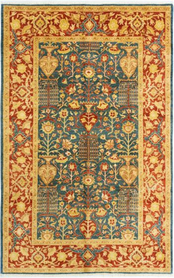 Bordered  Traditional Blue Area rug 5x8 Afghan Hand-knotted 280371