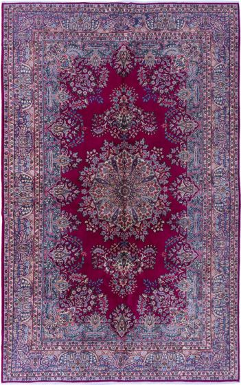 Bordered  Traditional Red Area rug Unique Turkish Hand-knotted 281035