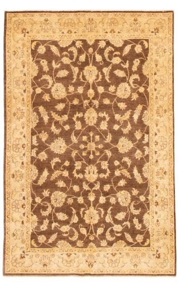 Bordered  Traditional Brown Area rug 5x8 Afghan Hand-knotted 331502