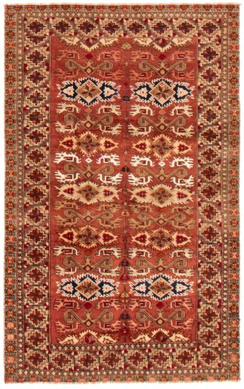 Bordered  Tribal Red Area rug 3x5 Russia Hand-knotted 357677
