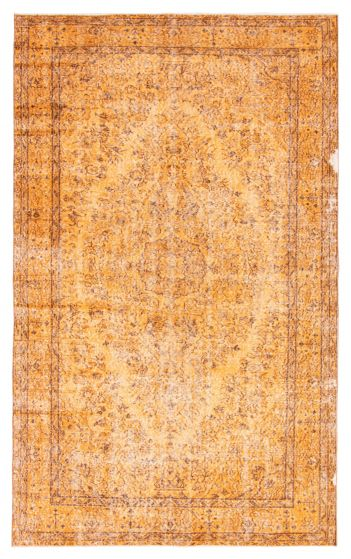 Bordered  Transitional Orange Area rug 5x8 Turkish Hand-knotted 362979