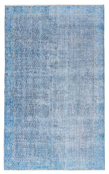 Bordered  Transitional Blue Area rug 5x8 Turkish Hand-knotted 362992