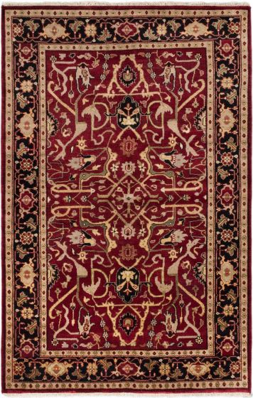 Traditional Red Area rug 5x8 Indian Hand-knotted 183789