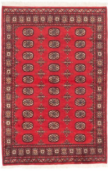 Traditional Red Area rug 3x5 Pakistani Hand-knotted 205098