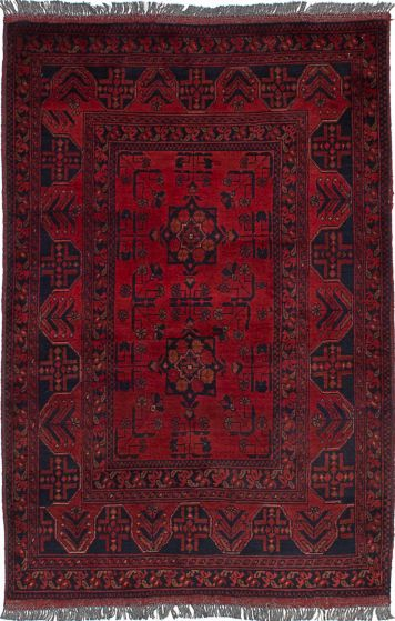 Geometric  Tribal Red Area rug 3x5 Afghan Hand-knotted 235854
