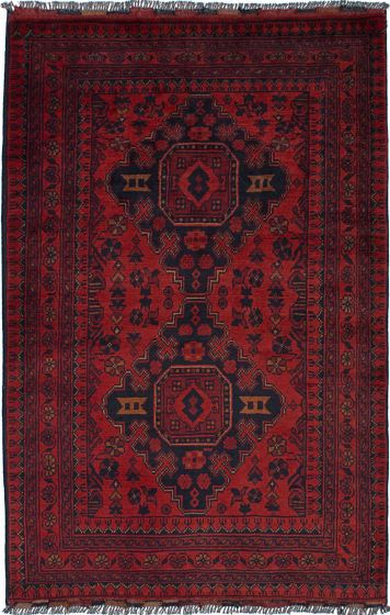 Geometric  Tribal Red Area rug 3x5 Afghan Hand-knotted 236131