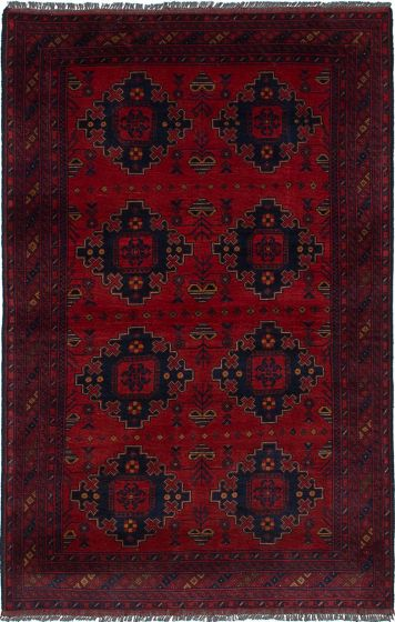 Traditional  Tribal Red Area rug 3x5 Afghan Hand-knotted 236266