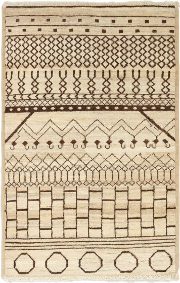 Casual  Transitional Ivory Area rug 3x5 Indian Hand-knotted 280167