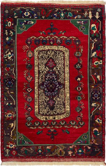 Bordered  Traditional Red Area rug 5x8 Turkish Hand-knotted 293816