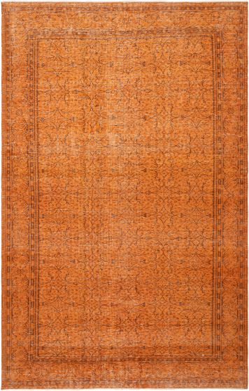 Casual  Transitional Orange Area rug 6x9 Turkish Hand-knotted 296004