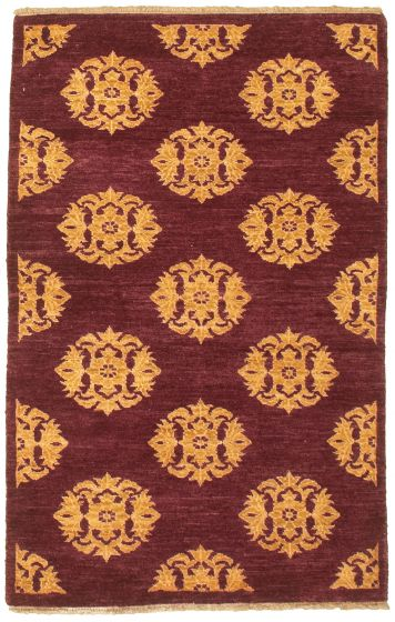 Casual  Transitional Red Area rug 3x5 Pakistani Hand-knotted 330444