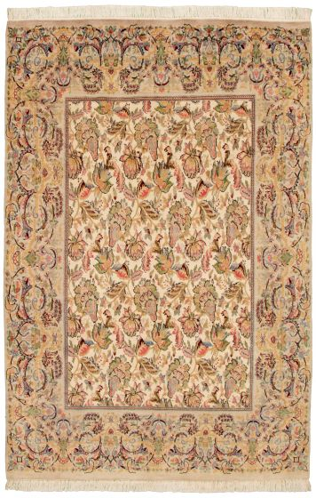Bordered  Traditional Ivory Area rug 5x8 Pakistani Hand-knotted 330511