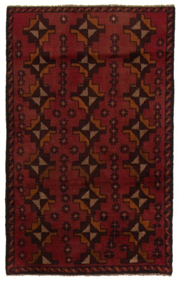 Bordered  Tribal Red Area rug 3x5 Afghan Hand-knotted 357171
