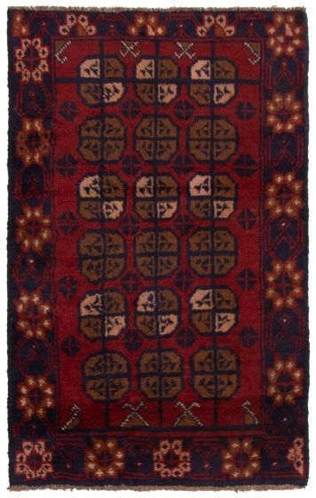 Bordered  Tribal Red Area rug 3x5 Afghan Hand-knotted 360566