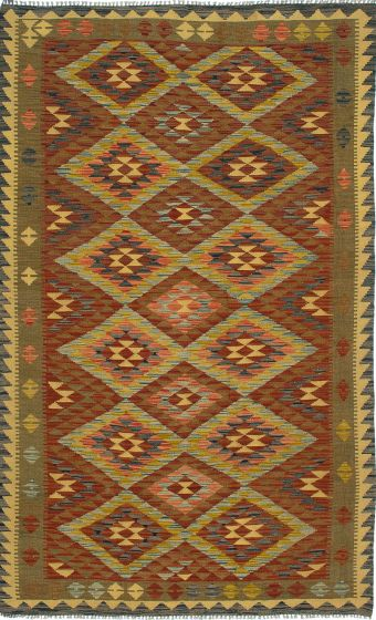 Traditional Brown Area rug 5x8 Turkish Flat-weave 212163