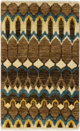 Casual  Transitional Brown Area rug 3x5 Indian Hand-knotted 280025