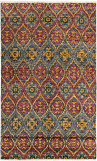 Casual  Transitional Red Area rug Unique Indian Hand-knotted 280308