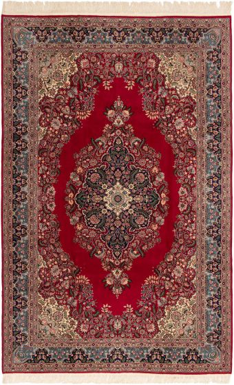 Bordered  Traditional Red Area rug Unique Turkish Hand-knotted 293261