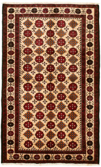 Bordered  Tribal Red Area rug 3x5 Afghan Hand-knotted 334176
