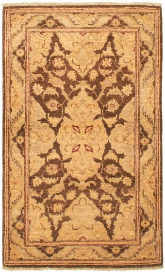 Bordered  Traditional Brown Area rug 3x5 Afghan Hand-knotted 335931