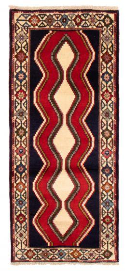 Bordered  Tribal Blue Runner rug 7-ft-runner Turkish Hand-knotted 358586