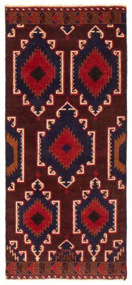 Geometric  Tribal Red Runner rug 6-ft-runner Afghan Hand-knotted 367521