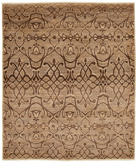 Casual  Transitional Brown Area rug 6x9 Pakistani Hand-knotted 338761