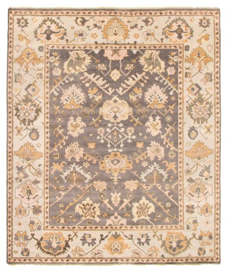 Bordered  Traditional Grey Area rug 6x9 Indian Hand-knotted 344880