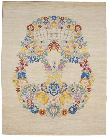 FloralTransitional Blue Area rug 9x12 Pakistani Hand-knotted 206382