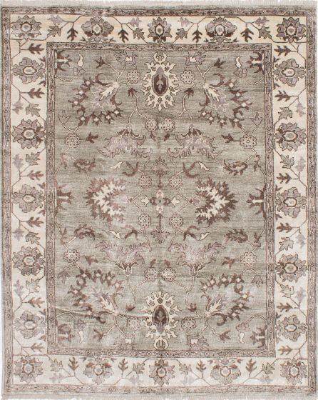 Traditional Grey Area rug 6x9 Indian Hand-knotted 223670