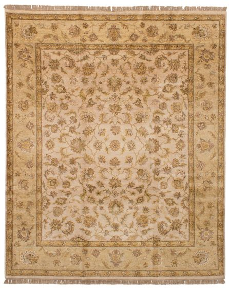 Bordered  Southwestern Ivory Area rug 6x9 Indian Hand-knotted 254693
