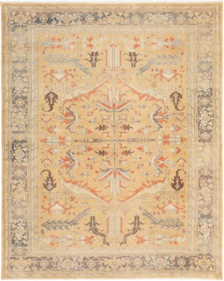 Bordered  Traditional Brown Area rug 8x10 Turkish Hand-knotted 280847