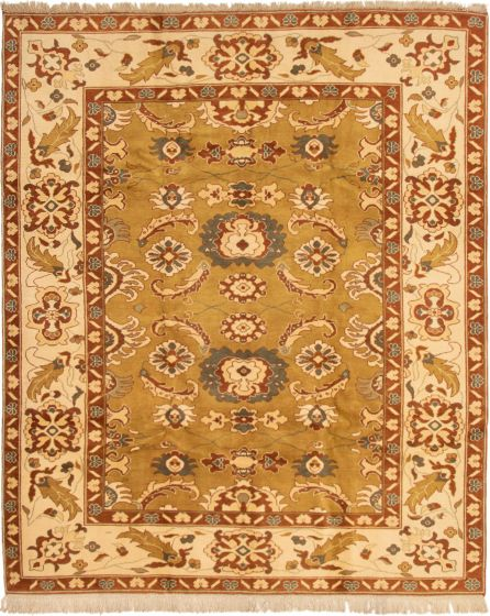 Bordered  Traditional Green Area rug 6x9 Turkish Hand-knotted 293371