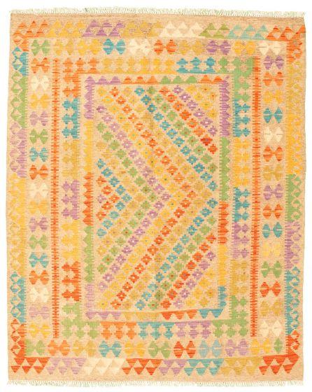 Bordered  Geometric Brown Area rug 4x6 Turkish Flat-weave 330011