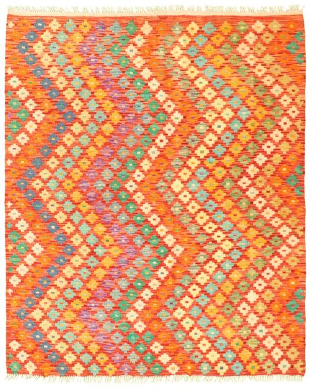 Flat-weaves & Kilims Red Area rug 4x6 Turkish Flat-weave 330053