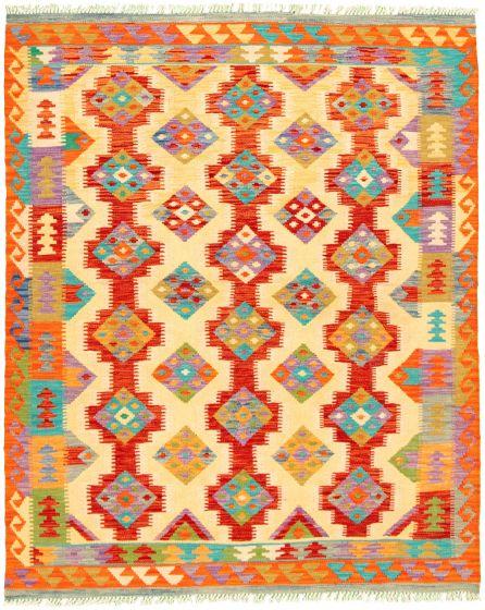 Bordered  Geometric Multi Area rug 4x6 Turkish Flat-weave 330213