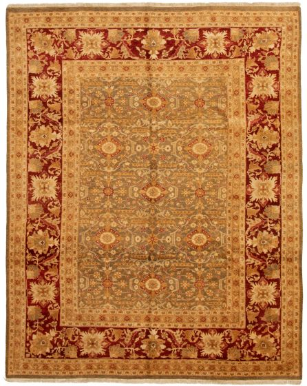Bordered  Traditional Green Area rug 6x9 Pakistani Hand-knotted 331177