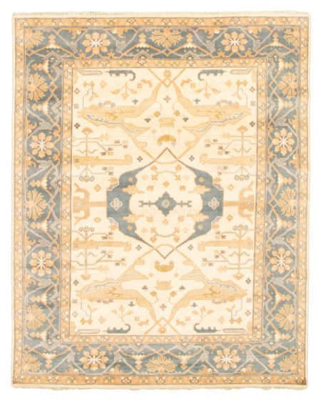 Bordered  Traditional Ivory Area rug 6x9 Indian Hand-knotted 344894