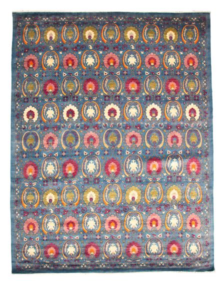 Casual  Transitional Blue Area rug 12x15 Pakistani Hand-knotted 345144
