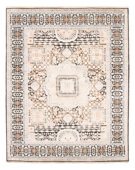 Carved  Transitional Black Area rug 6x9 Indian Hand-knotted 364613
