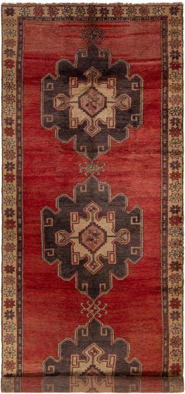 Bordered  Vintage Red Runner rug 13-ft-runner Turkish Hand-knotted 304215