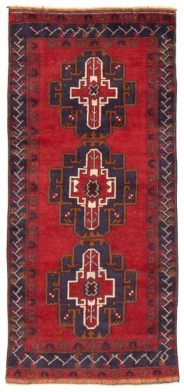 Geometric  Tribal Red Runner rug 7-ft-runner Afghan Hand-knotted 367571