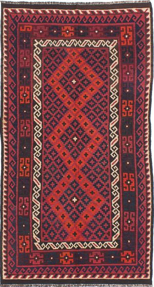 Traditional Red Area rug 4x6 Afghan Flat-weave 224693