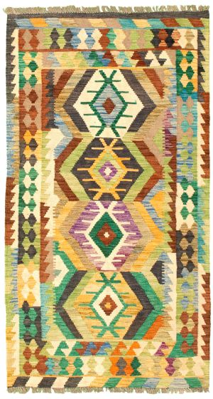 Bordered  Geometric Multi Area rug 3x5 Turkish Flat-weave 329961