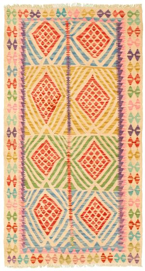 Bordered  Geometric Ivory Area rug 3x5 Turkish Flat-weave 329995