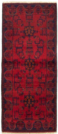 Bordered  Tribal Red Runner rug 6-ft-runner Afghan Hand-knotted 330306